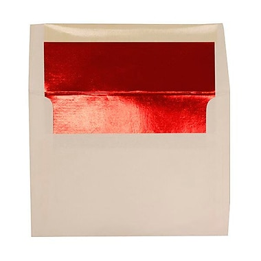 JAM Paper® A7 Foil Lined Envelopes, 5.25 x 7.25, White with Red Lining, 250/Pack (83065H)