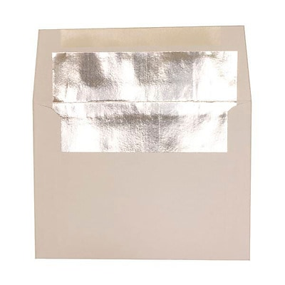 JAM Paper® A2 Invitation Envelopes, 4 3/8 x 5 3/4, White with Silver Lining, 50/pack (79415I)