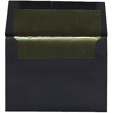 JAM Paper® A6 Foil Lined Envelopes, 4.75 x 6.5, Black Linen with Gold Lining Recycled, 250/Pack (3243678H)