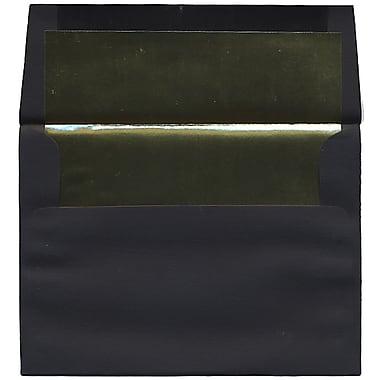 JAM Paper® A7 Foil Lined Envelopes, 5.25 x 7.25, Black Linen with Gold Lining, 50/Pack (3243679I)