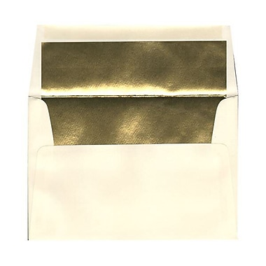 JAM Paper® A8 Foil Lined Envelopes, 5.5 x 8.125, Ecru Ivory with Gold Lining, 250/box (332417064H)