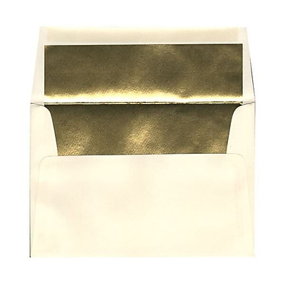 JAM Paper® A8 Foil Lined Envelopes, 5.5 x 8.125, Ecru Ivory with Gold Lining, 50/pack (332417064I)