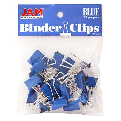JAM Paper® Colored Binder Clips, Small, 19mm, Blue, 25/pack (334BCBU)