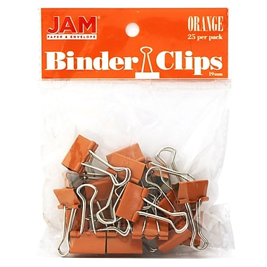 JAM Paper® Colored Binder Clips, Small, 19mm, Orange Binderclips, 25/pack (334BCOR)