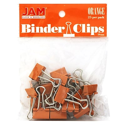 JAM Paper® Colored Binder Clips, Small, 19mm, Orange Binder Clips, 25/Pack (334BCOR)