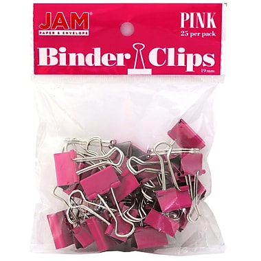 JAM Paper® Colored Binder Clips, Small, 19mm, Pink, 25/pack (334BCPI)