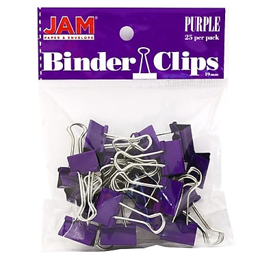 JAM Paper® Colored Binder Clips, Small, 19mm, Purple Binderclips, 25/pack (334BCPU)