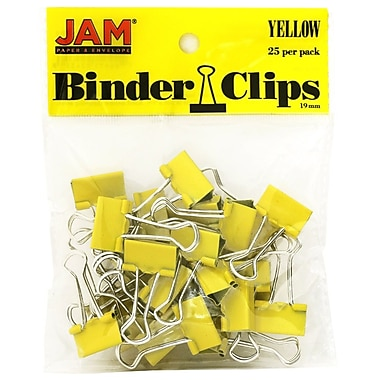JAM Paper® Colored Binder Clips, Small, 19mm, Yellow Binderclips, 25/pack (334BCYE)