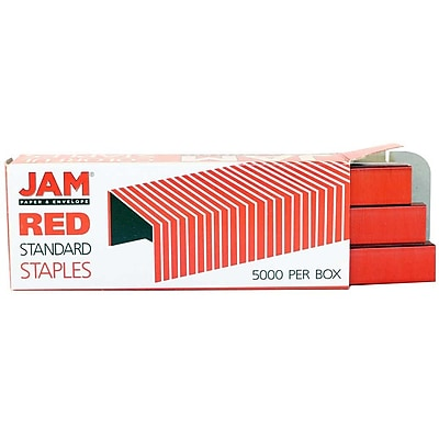 JAM Paper® Standard Size Colorful Staples, Red, 5000/box (335RE)