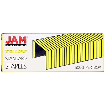 JAM Paper® Standard Size Colorful Staples, Yellow, 5000/box (335YE)