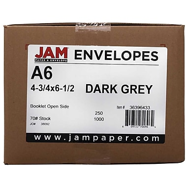 JAM Paper® A6 Invitation Envelopes, 4.75 x 6.5, Dark Grey, 250/Pack (36396433H)