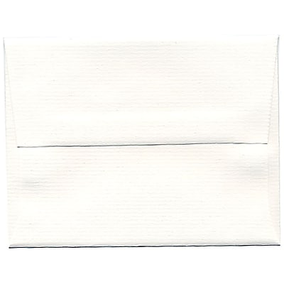 JAM Paper® A2 Invitation Envelopes, 4 3/8 x 5 3/4, Strathmore Bright White Pinstripe Recycled, 250/box (43432H)