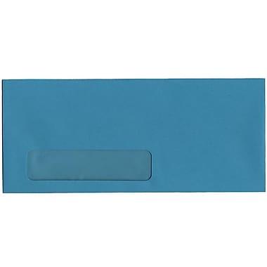 JAM Paper – Enveloppes recyclées à fenêtre Brite Hue n° 10 (4,13 x 9,5 po), bleu de mer, 500/bte
