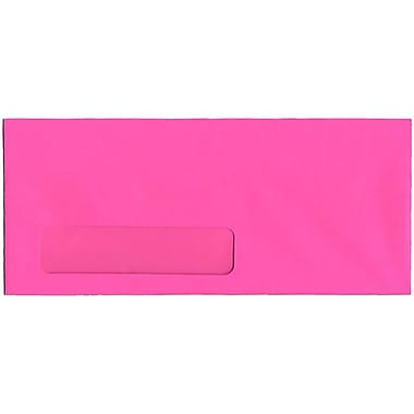 JAM Paper® #10 Window Envelopes, 4 1/8 x 9.5, Brite Hue Ultra Fuchsia Pink, 500/Pack (5156479H)