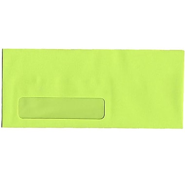JAM Paper® #10 Window Envelopes, 4 1/8 x 9.5, Brite Hue Ultra Lime Green, 500/Pack (5156480H)