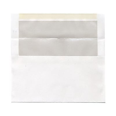 JAM Paper® A9 Foil Lined Envelopes, 5.75 x 8.75, White with Ivory Lining, 50/pack (532412546I)