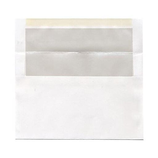 JAM Paper® A9 Foil Lined Invitation Envelopes, 5.75 x 8.75, White with Ivory Foil, 50/Pack (532412546I)