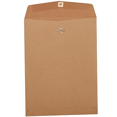 JAM Paper® 9 x 12 Open End Catalog Envelopes with Clasp Closure, Brown Kraft Paper Bag Recycled, 10/pack (563120849A)