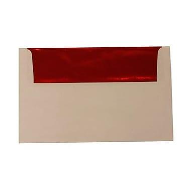 JAM PaperMD – Enveloppes A10 à l'intérieur en papier métallisé, blanc/rouge, 50/paquet