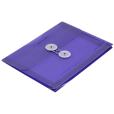 JAM Paper® Plastic Envelopes with Button and String Tie Closure, Index Booklet, 5.25 x 7.5, Purple Poly, 24/Pack (920B1PUg)