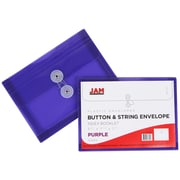 JAM Paper® Plastic Envelopes with Button and String Tie Closure, Index Booklet, 5.25 x 7.5, Purple Poly, 12/pack (920B1PU)