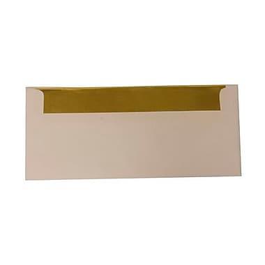 JAM Paper – Enveloppes n° 10 (4,13 x 9,5 po), doublure dorée, blanc et doré, 500/bte