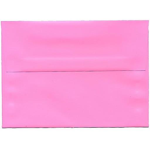 JAM Paper® A7 Colored Invitation Envelopes, 5.25 x 7.25, Ultra Pink, Bulk 250/Box (96268H)