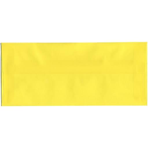 JAM Paper® #10 Business Translucent Vellum Envelopes, 4.125 x 9.5, Primary Yellow, 25/Pack (PACV356)