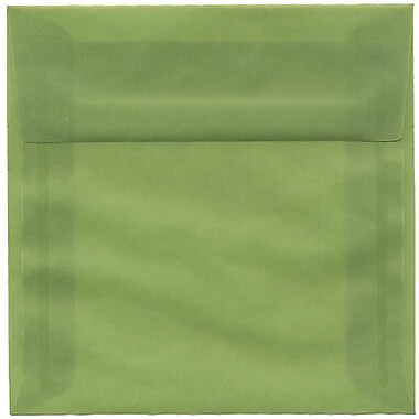 JAM Paper® 6 x 6 Square Envelopes, Leaf Green Translucent Vellum, 50/pack (PACV513I)