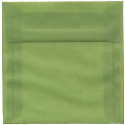 JAM Paper® 6 x 6 Square Envelopes, Leaf Green Translucent Vellum, 250/box (PACV513H)