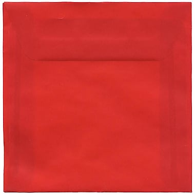 JAM Paper® 6 x 6 Square Envelopes, Red Translucent Vellum, 50/pack (PACV515I)