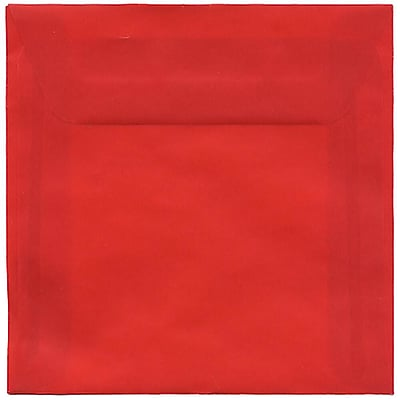 JAM Paper® 6 x 6 Square Envelopes, Red Translucent Vellum, 250/box (PACV515H)