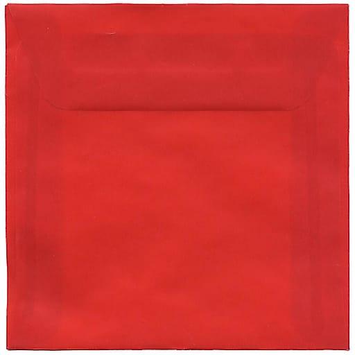 JAM Paper® 6 x 6 Square Translucent Vellum Invitation Envelopes, Primary Red, Bulk 250/Box (PACV515H)
