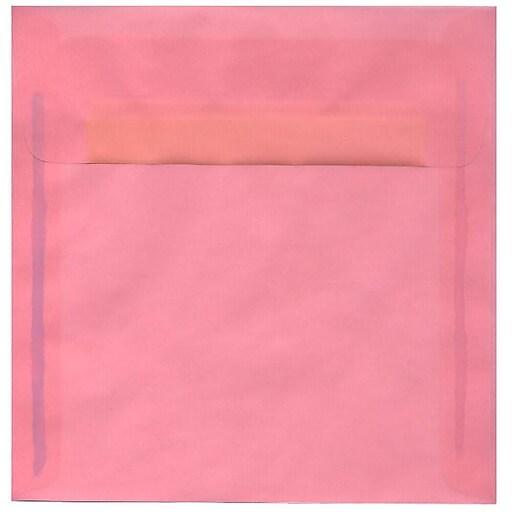 JAM Paper® 8.5 x 8.5 Square Translucent Vellum Invitation Envelopes, Blush Pink, 50/Pack (PACV598I)