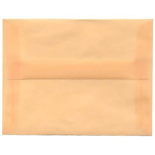 JAM Paper® A2 Translucent Vellum Invitation Envelopes, 4.375 x 5.75, Spring Ochre Ivory, 50/Pack (PACV600I)