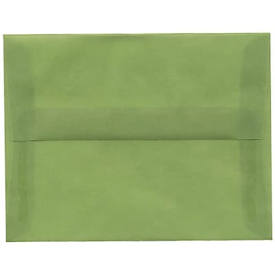 JAM Paper® A2 Invitation Envelopes, 4 3/8 x 5 3/4, Leaf Green Translucent Vellum, 250/box (PACV603H)