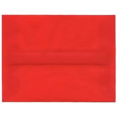 JAM Paper – Enveloppes translucides A2, rouge primaire, 50/paquet