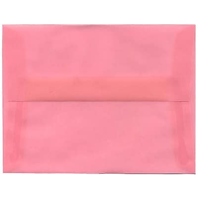 JAM Paper® A2 Invitation Envelopes, 4 3/8 x 5 3/4, Blush Pink Translucent Vellum, 250/box (PACV618H)