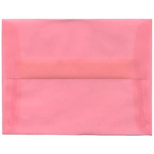 JAM Paper® A2 Translucent Vellum Invitation Envelopes, 4.375 x 5.75, Blush Pink, 50/Pack (PACV618I)