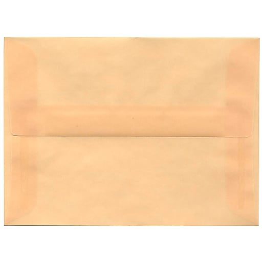 JAM Paper® A6 Translucent Vellum Invitation Envelopes, 4.75 x 6.5, Spring Ochre Ivory, 50/Pack (PACV650I)