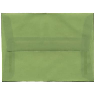 JAM Paper® A6 Invitation Envelopes, 4.75 x 6.5, Leaf Green Translucent Vellum, 50/pack (PACV653I)