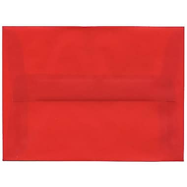 JAM Paper® A6 Invitation Envelopes, 4.75 x 6.5, Red Translucent Vellum, 250/Pack (PACV655H)