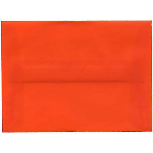 JAM Paper® A6 Translucent Vellum Invitation Envelopes, 4.75 x 6.5, Orange, Bulk 250/Box (PACV669H)