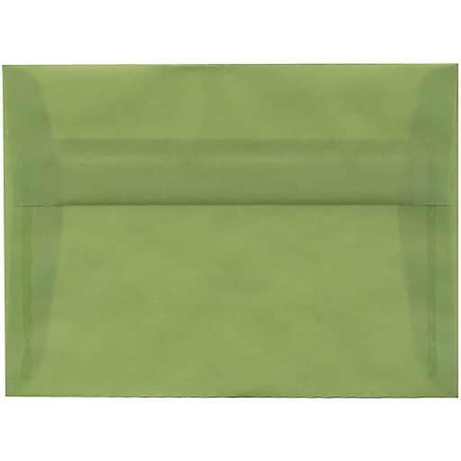 JAM Paper® A7 Translucent Vellum Invitation Envelopes, 5.25 x 7.25, Leaf Green, Bulk 250/Box (PACV703H)