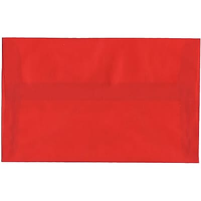 JAM Paper® A10 Invitation Envelopes, 6 x 9.5, Translucent Vellum Red, 50/pack (PACV855I)