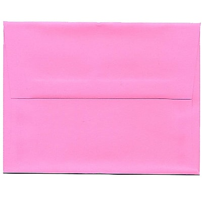 JAM Paper® A2 Invitation Envelopes, 4 3/8 x 5 3/4, Brite Hue Ultra Pink, 250/box (WDBH607H)