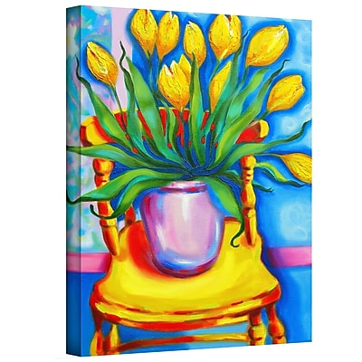 ArtWall Yellow Tulips in van Gogh's Chair by Susi Franco Painting Print on Canvas; 48'' H x 36'' W