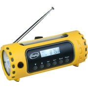 Freeplay Tuf Solar and Crank Powered AM/FM/WX Radio with LED Flashlight and Cellphone Charger, Yellow (A116WB1YL20000F)
