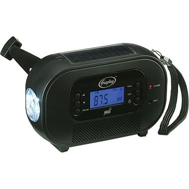 Freeplay – Radio solaire à manivelle Buddy AM/FM/WX avec alerte météo, lampe DEL, chargeur de téléphone, noir (B120AN8BK90080F)