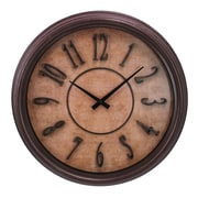 "Kiera Grace 18"" Distressed Finish Wall Clock with Raised Numbers, Brown"
